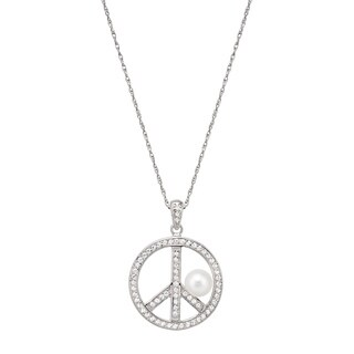 Pearlyta Sterling Silver FW Pearl and CZ Peace Charm Necklace (5-6 mm)