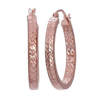 Gioelli 14k Rose Gold Diamond-cut Hoop Earrings