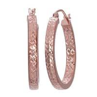 Gioelli 14k Rose Gold Diamond-cut Hoop Earrings