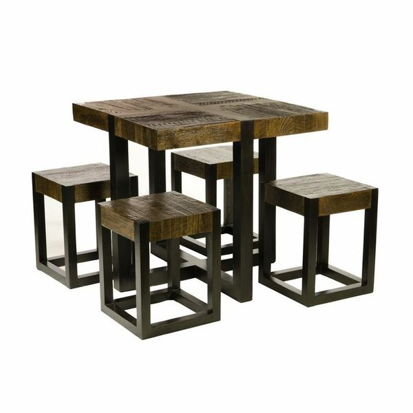 Batavia Rustic Square Dining Table Chairs Set of 5 Free – Square Breakfast Table
