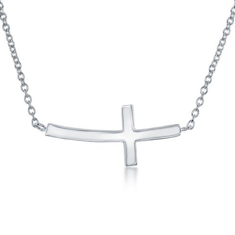 La Preciosa Sterling Silver Curved Sideways Cross Necklace