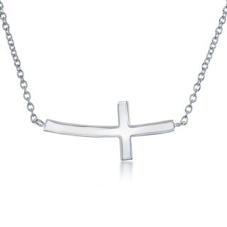 La Preciosa Sterling Silver Curved Sideways Cross Necklace