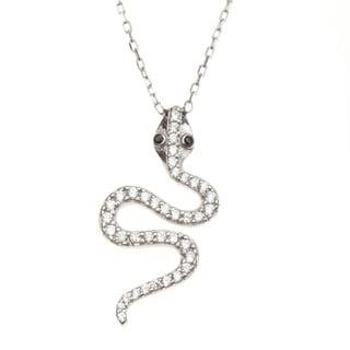 La Preciosa Sterling Silver Cubic Zirconia Snake Necklace