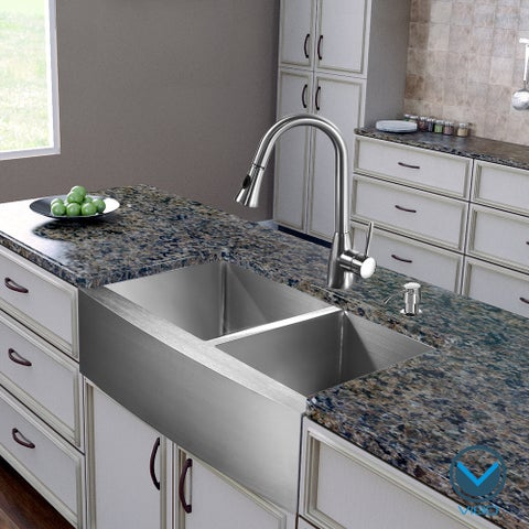 VIGO All-in-One 36-inch Stainless Steel Farmhouse Kitchen Sink and Aylesbury Stainless Steel Faucet Set