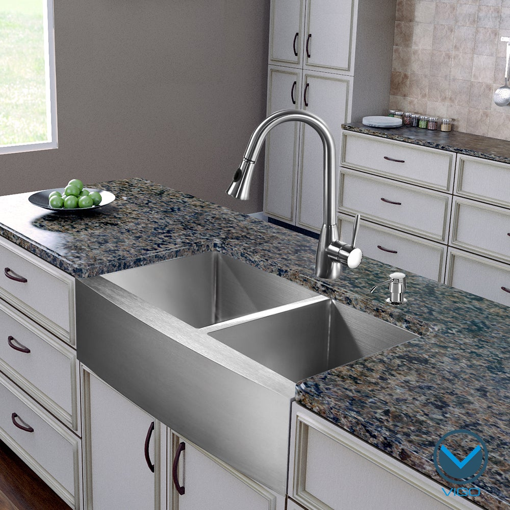 Vigo All In One 36 Inch Stainless Steel Farmhouse Kitchen Sink And Ayury Faucet Set
