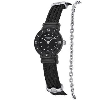 Charriol Women's ST20B.525.005 'St Tropez' Black Dial Stainless Steel Quartz Watch