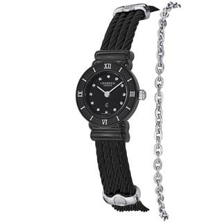 Charriol Women's ST20B.525.005 'St Tropez' Black Dial Stainless Steel Quartz Watch