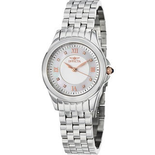 Invicta Women's  'Angel' Mother of Pearl Stainless Steel Quartz Watch