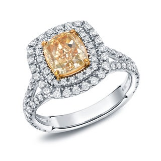 Auriya 18k Gold 2 3/4ct TDW Certified Fancy Yellow Cushion-cut Diamond Ring (EGL USA)