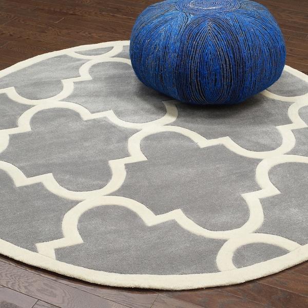 nuloom handmade luna moroccan trellis round rug ' round  free, grey round rug next, round grey area rugs, round grey rug
