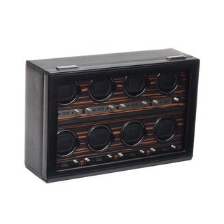WOLF Roadster Black Faux Leather 8-piece Watch Winder