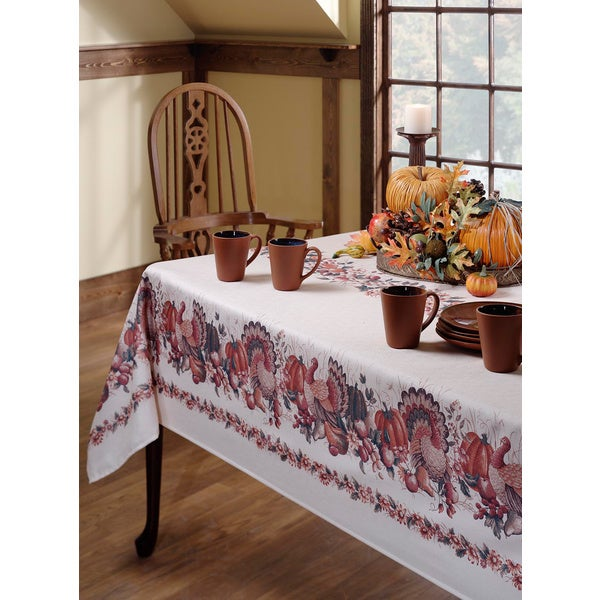 Thanksgiving Print Textured Polyester Tablecloth