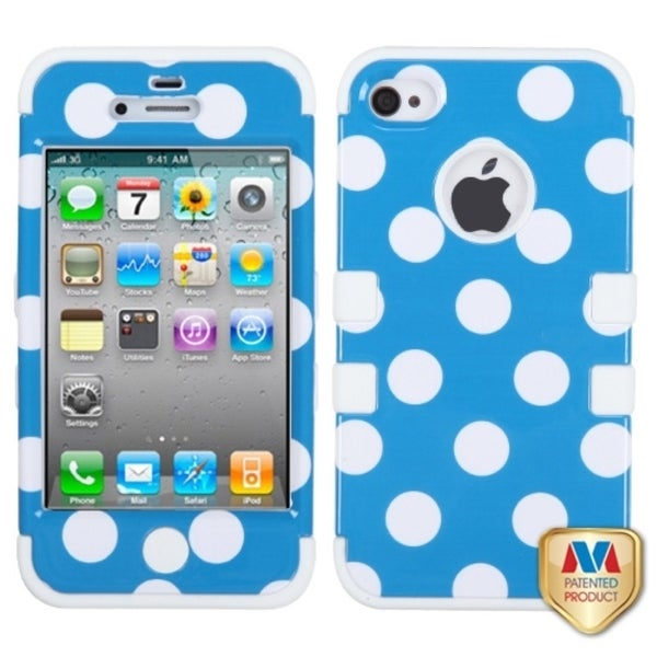 INSTEN White Polka Dots/ Blue/ White TUFF Phone Case Cover for Apple iPhone 4S/ 4