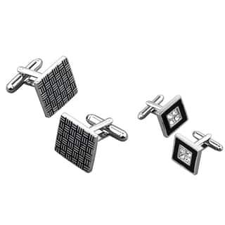 Zodaca Grey Black Square/ Black Square with 4 Jewels Cufflink Set (Pack of 2)|https://ak1.ostkcdn.com/images/products/8326591/8326591/BasAcc-Cufflink-Set-Pack-of-2-P15639843.jpg?impolicy=medium