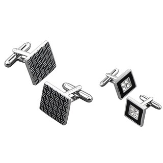 Zodaca Grey Black Square/ Black Square with 4 Jewels Cufflink Set (Pack of 2)