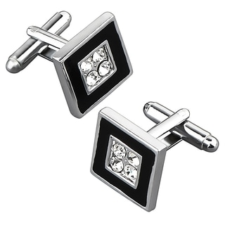 Zodaca Black/ Silver Square with 4 Jewels Cufflink Set (Pack of 2)