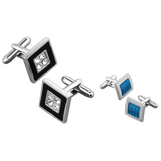 Zodaca Black Square with 4 Jewels/ Blue Square Cufflink Set (Pack of 2)