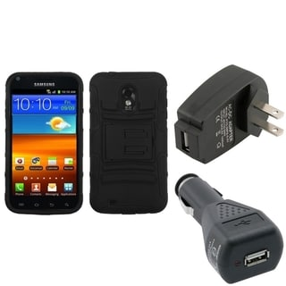 INSTEN Armor Phone Case Cover/ Black Chargers for Samsung Galaxy S II 4G