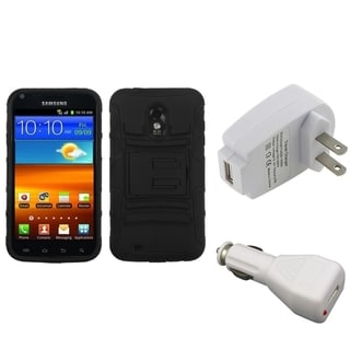 INSTEN Armor Phone Case Cover/ White Chargers for Samsung Galaxy S II 4G
