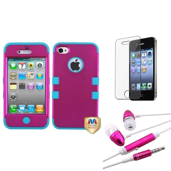 INSTEN TUFF Case Cover/ Headset/ Screen Protector for Apple iPhone 4/ 4S