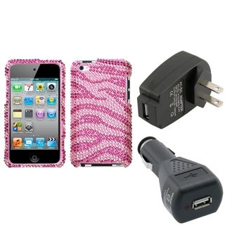 INSTEN Diamante iPod Case Cover/ Black Chargers for Apple iPod Touch 4
