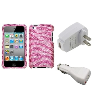 INSTEN Diamante iPod Case Cover/ White Chargers for Apple iPod Touch 4
