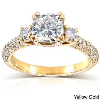 Annello by Kobelli 14k Gold Cushion-cut Moissanite and 1/2ct TDW Round-cut Diamond Engagement Ring