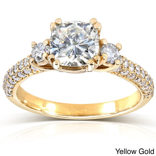 Annello by Kobelli 14k Gold 1 1/2ct TGW Cushion-cut Moissanite and Diamond 3-Stone Pave Engagement Ring