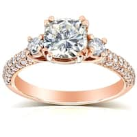 Annello by Kobelli 14k Gold 1 1/2ct TGW Cushion-cut Moissanite (HI) and Diamond 3-Stone Pave Engagement Ring