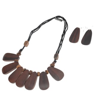 Handmade Eco Friendly Wood Plain Tile Necklace and Earring Set (India)
