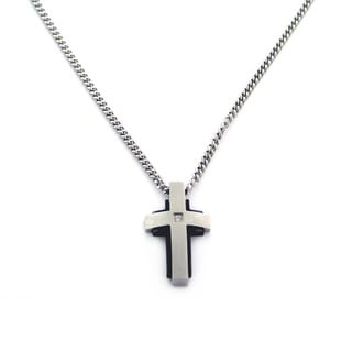 Black-plated Stainless Steel Diamond Accent Cross Necklace
