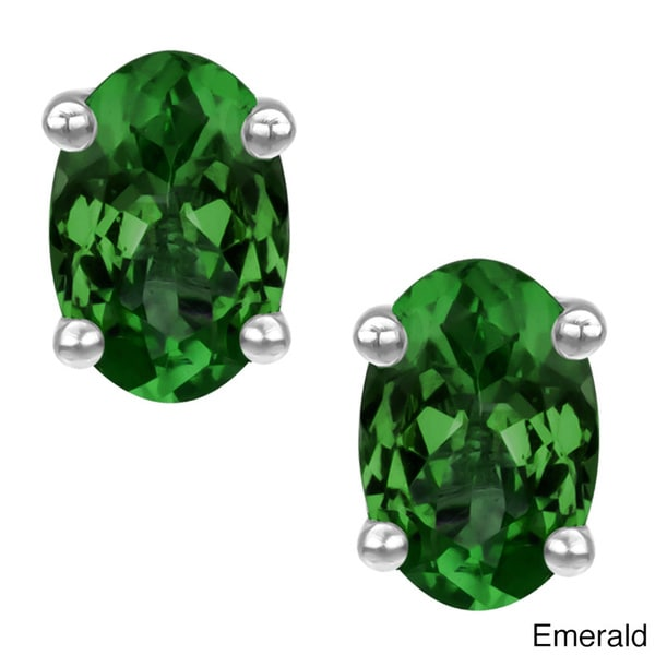 Platinum-plated Sterling Silver Oval Shape Lab-created Emerald or Ruby Stud Earrings