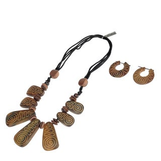 Handmade Eco Friendly Wood Golden Spiral Necklace and Earring Set (India)