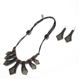 Eco Friendly Wood Black Golden Spiral Necklace and Earring Set (India)