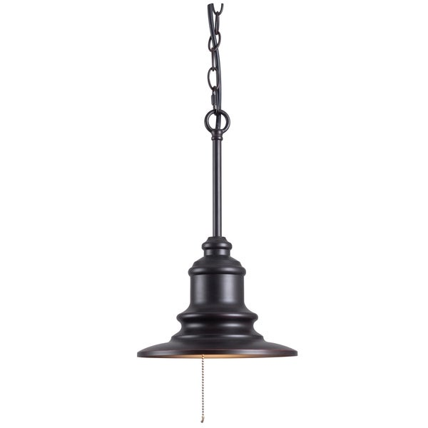Visp Blackened Oil Rubbed Bronze 1-light Outdoor Pendant. Opens flyout.