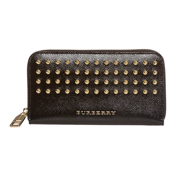 Burberry Embossed Leather Zip Around Wallet: Burberry 'London' Black Studded Leather Zip-around Wallet