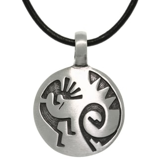 Carolina Glamour Collection Pewter/ Leather Etched Kokopelli Necklace