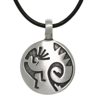 Pewter/ Leather Etched Kokopelli Necklace