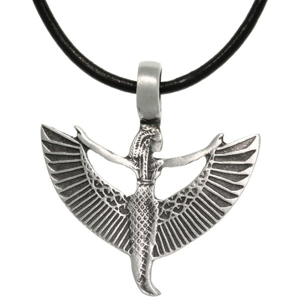 Shop Pewter Leather Goddess Maat Necklace Free Shipping On Orders