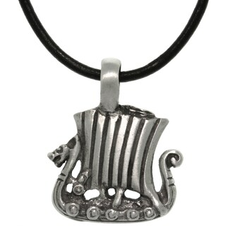 Pewter/ Leather Viking Ship Necklace