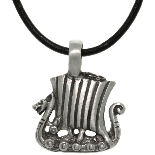 Pewter/ Leather Viking Ship Necklace