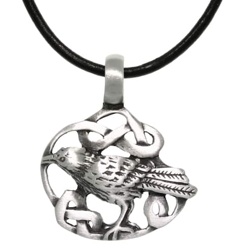 Pewter/ Leather Celtic Crow Necklace
