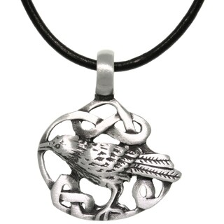 Carolina Glamour Collection Pewter/ Leather Celtic Crow Necklace