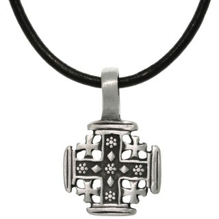 Carolina Glamour Collection Pewter/ Leather Five Cross Necklace