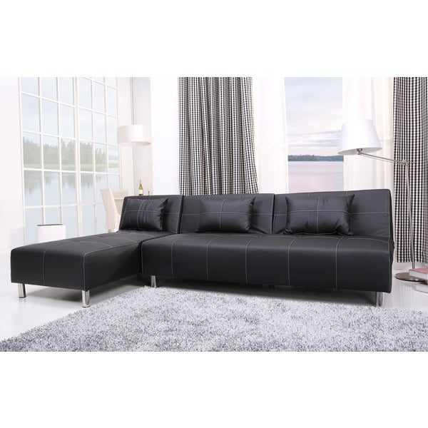... Atlanta Black White Stitching Convertible Sectional Sofa Bed And
