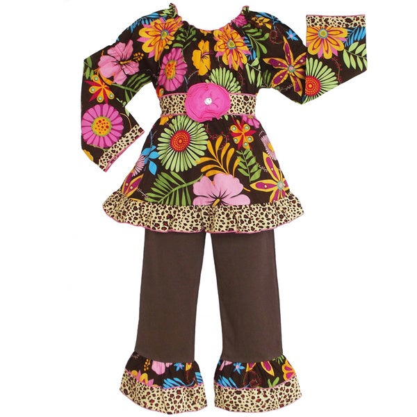 AnnLoren Girls Coco Floral and Leopard 2-piece Outfit