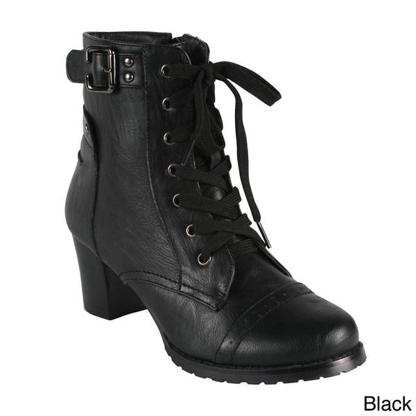 Bonnibel Women's 'Kody-1' Chunky Heel Lace-up Boots