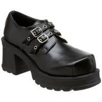 Demonia Women's 'Trump-101' Black Buckle Strap Chunky Shoes