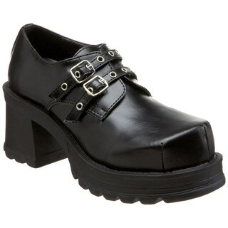 Demonia Women's 'Trump-101' Black Buckle Strap Chunky Shoes
