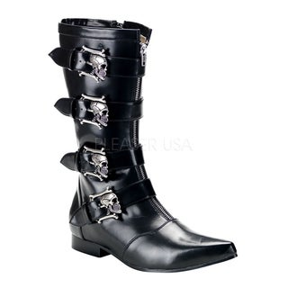 Demonia Brogue-107 Men's Winkle-picker Mid-calf Boots with Bronze Skull Buckles